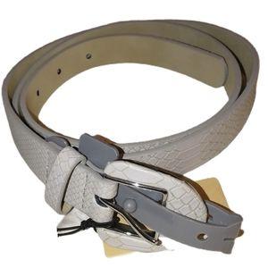 HALOGEN Grey Thin Textured Trouser Fit Buckle Belt
